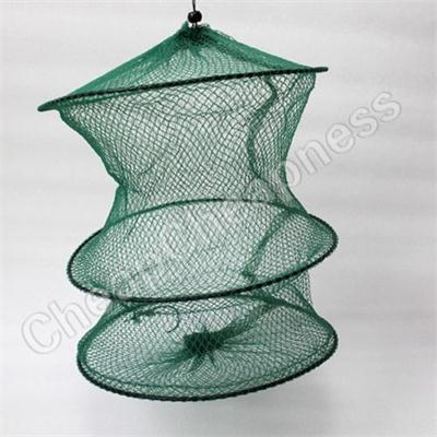 Folding  Round Nylon Mesh Crab Fish Trout Net Fishing Landing Net Foldable Cage