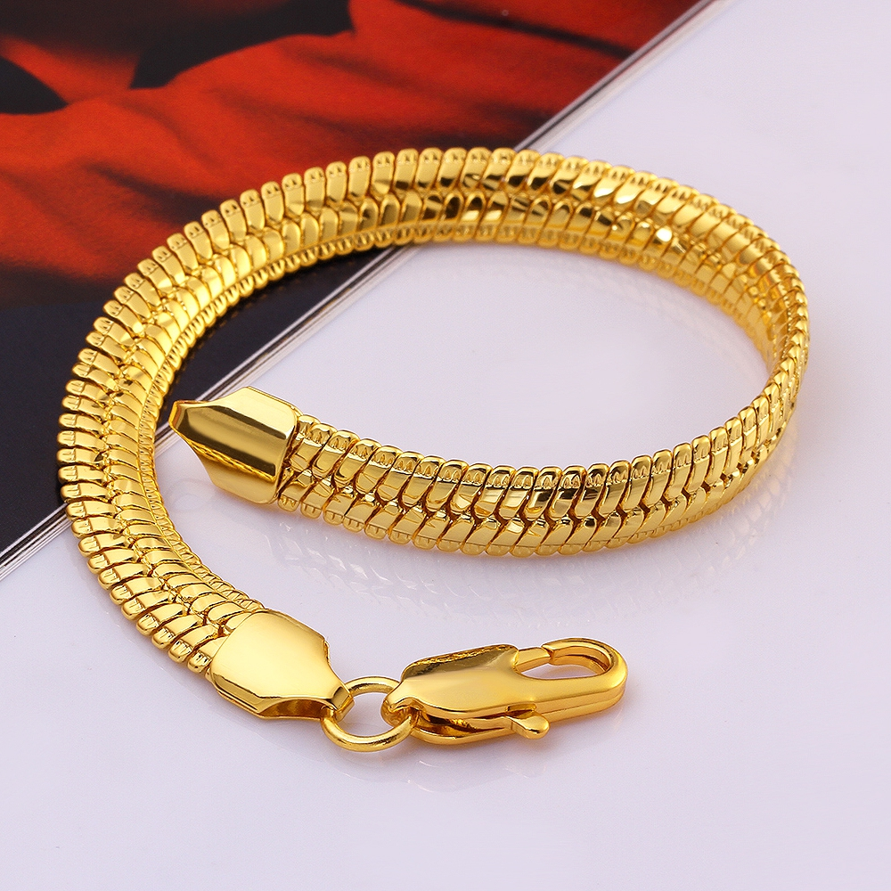 """18k"" Stamp Bracelet Men Jewelry Wholesale New Trendy 18k Real  Gold Plated 22"