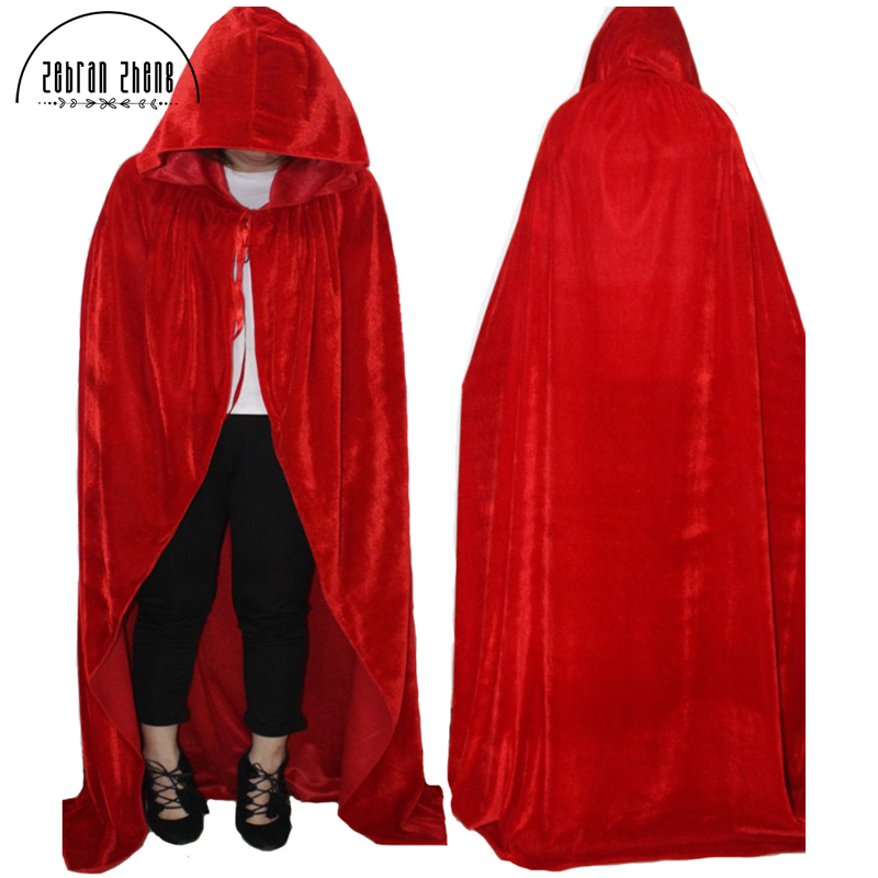 Free Shipping Adult Witch Long Purple Green Red Black Blue Cosplay Cloaks Hood and Capes Halloween Costumes For Women Men