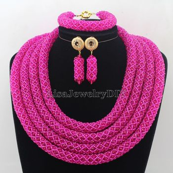Amazing Statement Necklace African Beads Jewelry Set For Women Gift Jewelry Necklace Set Crystal Beads Free Shipping HD7315