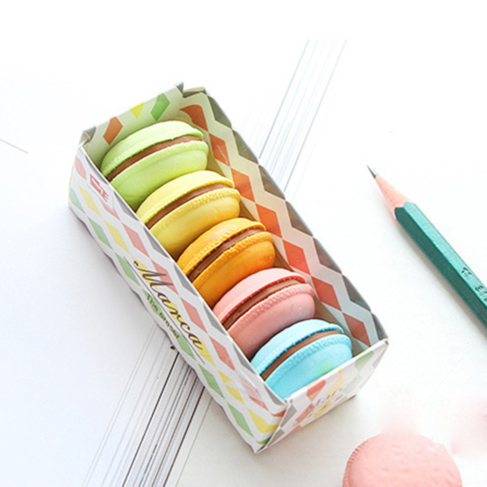 5 Pcs/set Macaron Color Erasers Cute Cake Rubber Eraser For Kids Borracha Funny Stationery Material Escolar School Supplies