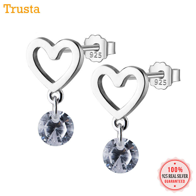 Trusta 100% 925 Sterling Silver Women Jewelry Fashion Cute Tiny 7mmX12mm Hollow Out Heart Stud Earrings For Daughter Girls DS17