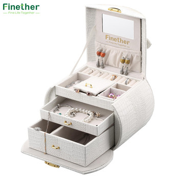 Finether Diamond Pattern Leather Necklace Jewelry Box Lockable Makeup Storage Case Organizer with Lift-Up Lid Mirror and Drawers makeup organizer box