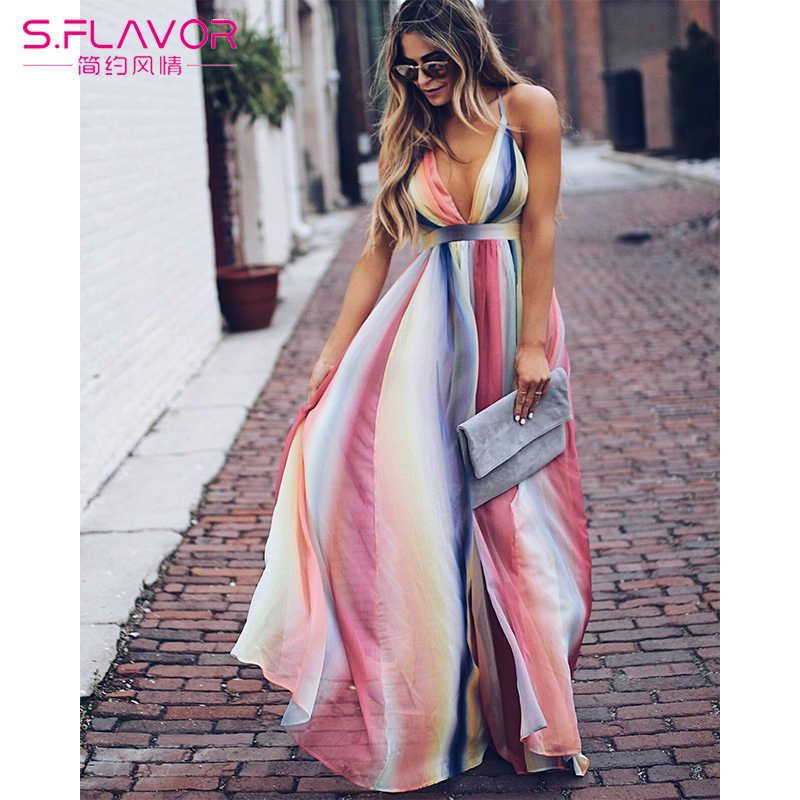 S. SMAAK Backless Bohemian Patchwork Jurk 2019 Vrouwen Sexy V-hals Strand Lange Jurk Sling V-hals Party Dress