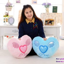 Glowing Colorful Heart LED Luminous Pillow LED Light Stuffed Projective Plush Soft Cushion Kids Toys Party Birthday Gift Home(China)
