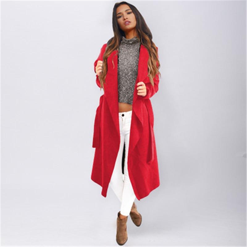 J721 Cappotto Nuovo Streetwear Inverno Casual khaki Lungo red Del Soprabito Lana Black Donne Miscele Di Manica Allentato Lunga Cardigan Delle rrgqwn1zva