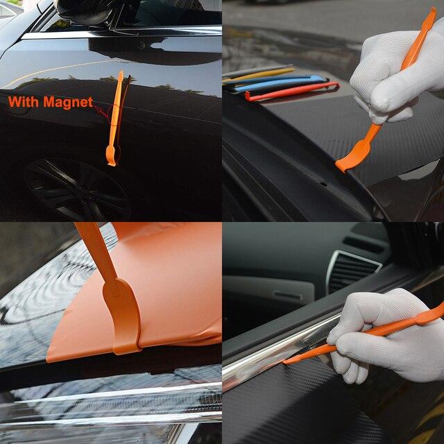 FOSHIO trousse doutils de voiture | Accessoires de voiture, enveloppe de vinyle en Fiber de carbone, Film autocollant, bâton de raclette, racloir, outils de teinture pour vitres automobiles