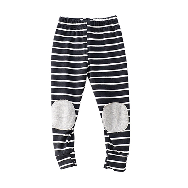d407c9ba32ea Kids Baby Boys Girls Pants Stripes Cotton Cartoon Printed Knee-pad Solid  Color Trousers Children