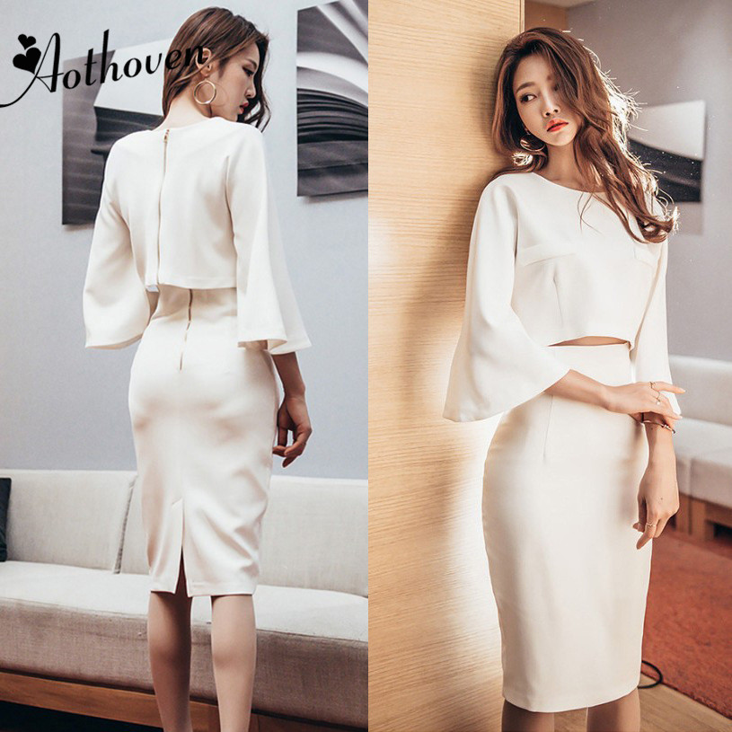2 Piece Set Autumn 2018 Women White Full Sleeve O Neck Short Shirt Top and Bandage Pencil Skirt Office Party Suit Two Piece Sets