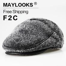 Maylooks 2017 Women's Real Knitted Sea Lions Fur Visor Hats Fur Visor Hats Female Winter Warm Caps Fashion Headgear CS25
