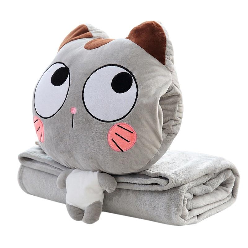 Two Pieces Blanket Pillow Set Cushion Blanket Multi-function Warm Hand Pillow Home Car Sofa Decor Nap Warm Blanket Plush Cushion