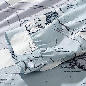 Image 5 - الرجال الهيب هوب قميص فضفاض الشارع الشهير الأحرف طباعة قميص هاواي صيفي المتضخم الصيف الخريف Harajuku بلايز قميص طويل الأكمام رقيقة