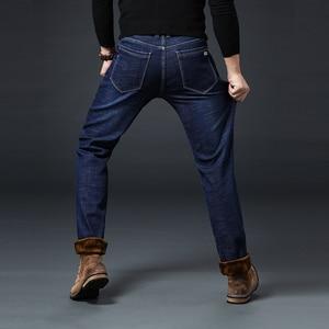Image 4 - Jantour חורף חם צמר גברים של ג ינס עבה למתוח ינס ז אן ישר זכר מותג כותנה מכנסיים גברים גדול גודל 35 40 42 44 46