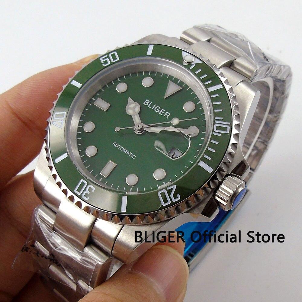 BLIGER 40mm Vert Cadran En Céramique Lunette Lumineux Marques Solide Saphir Cristal Miyota Automatique Mouvement Mécanique Hommes de Montre B66