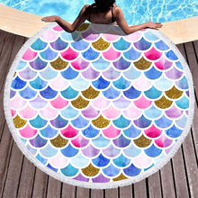 Boho Beach Towels Printed Colorful Scales Towel Microfiber Round Fabric Bath For Living Room Home Decorative