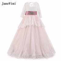JaneVini 2018 Tiered Lace Kids Flower Girl Dresses for Weddings Beaded Sashes Floor Length Holy Communion Party Gowns for Child