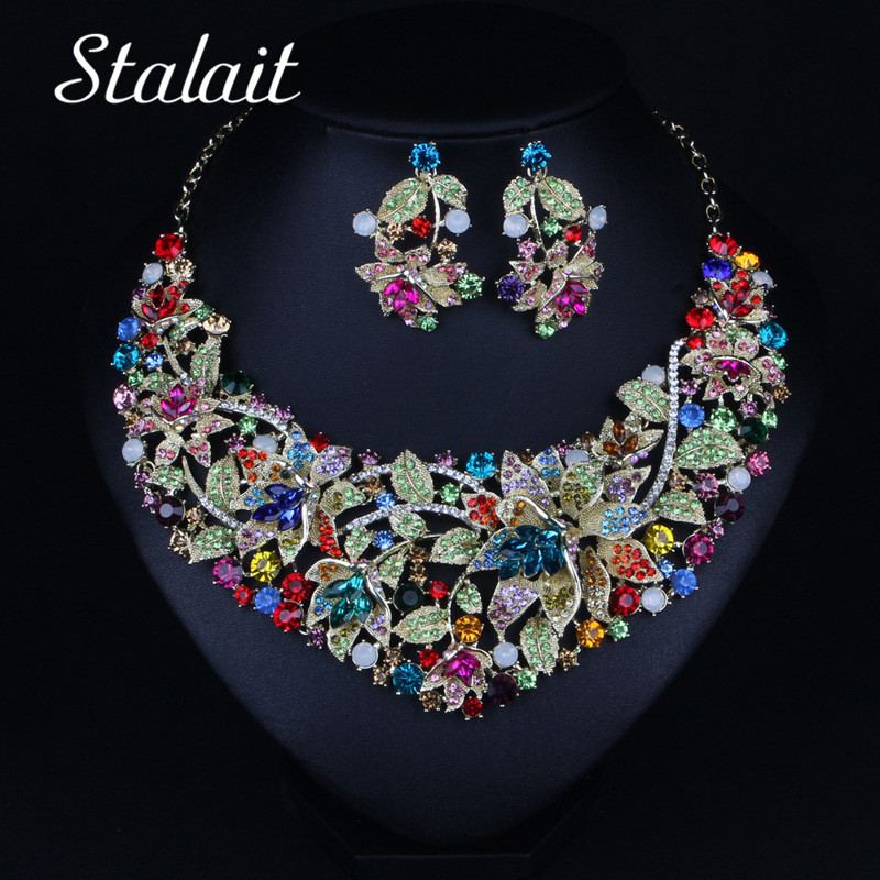 Luxury Colorful Rhinestone Flower Necklace Earrings Jewelry Sets Women Big Statement Bridal Wedding Jewelry Sets rhinestone frangipani flower necklace