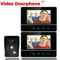 7 Inch Video Door Phone Video Doorbell Entry System Intercom Kit 1-camera 2-monitor Night Vision Security Camera Black Color
