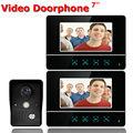 7 Inch Video Door Phone Video Doorbell Entry System Intercom Kit 1-camera 2-monitor Night Vision Security Camera Black Color