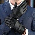 Vender bem Genuíno dos homens luvas, luvas De Couro frio de inverno Quente preto, mulheres tela de toque marrom