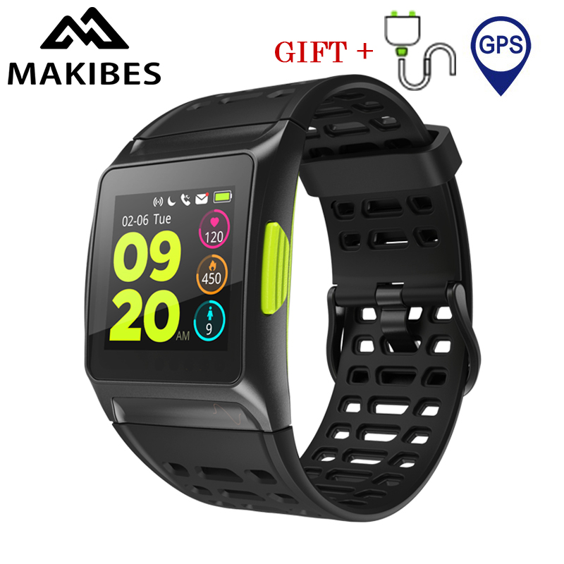 Makibes BR1 GPS Bluetooth Sports Fitness watch IP67 Waterproof IPS color screen Dynamic Heart rate tracker Strava Smart Watch цена