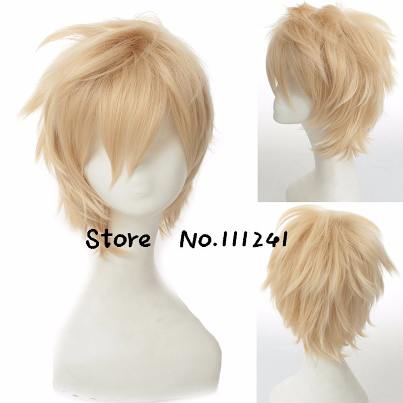 Ouran High School Host Club Tamaki Suou Light Golden Short Cosplay Wig Layered Synthetic Heat Resistance Full Hair + Wig Cap