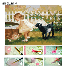 WEEN Cute Dog Painting Wall Pictures By Numbers DIY Horse Oil Animal Drawing For Living Room Deer Home Decor Cat Art