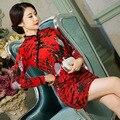 TIC-TEC chinese Cheongsams short qipao women wool elegant formal tradicional party weeding evening oriental dresses C3000