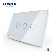 Livolo Wall Switch, Black Pearl Crystal Glass Panel, VL-C303R-82,US/AU Wireless Remote Touch Screen Light Switch LED indicator