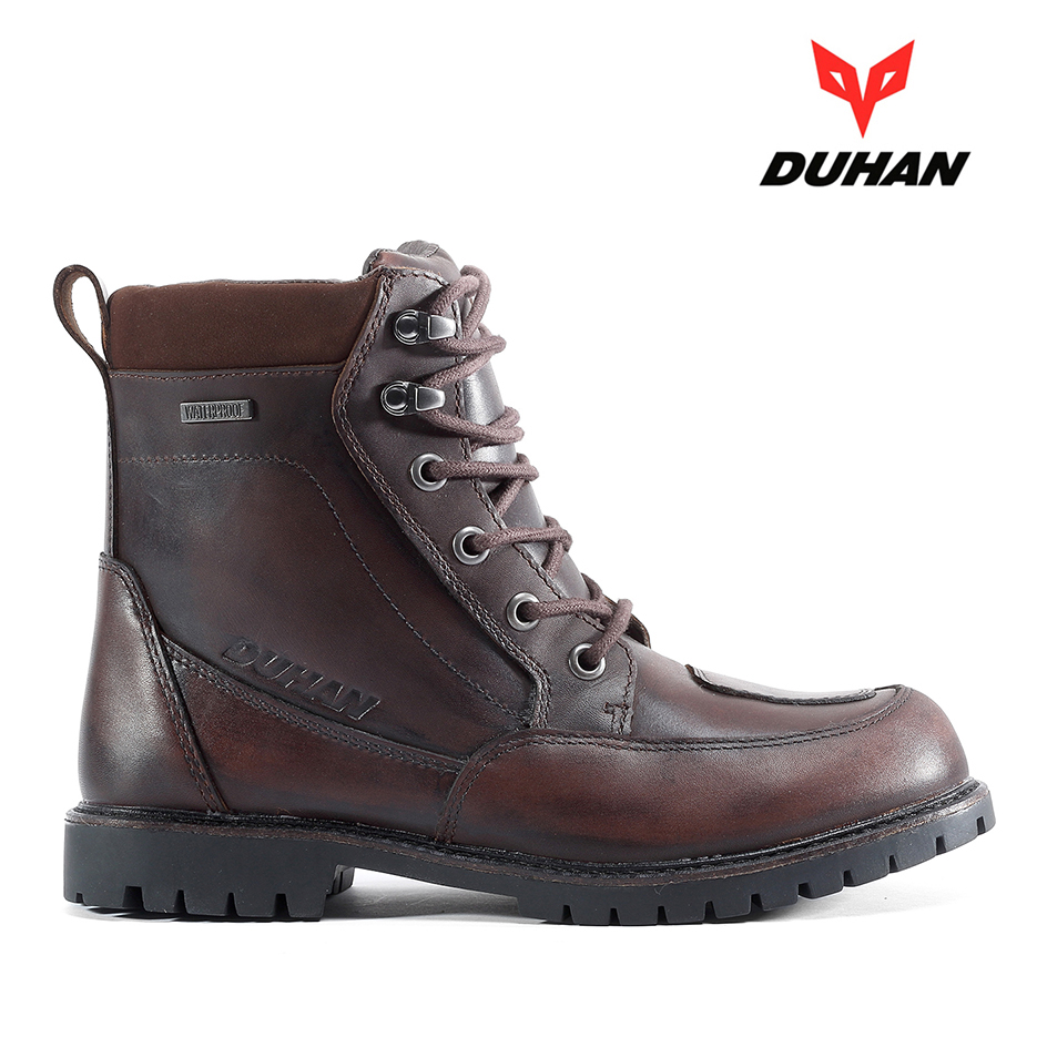 Waterproof Duhan Boots Motorcycle Racing Boots Leather Motocross Shoes Men Classic Moto Cowhide