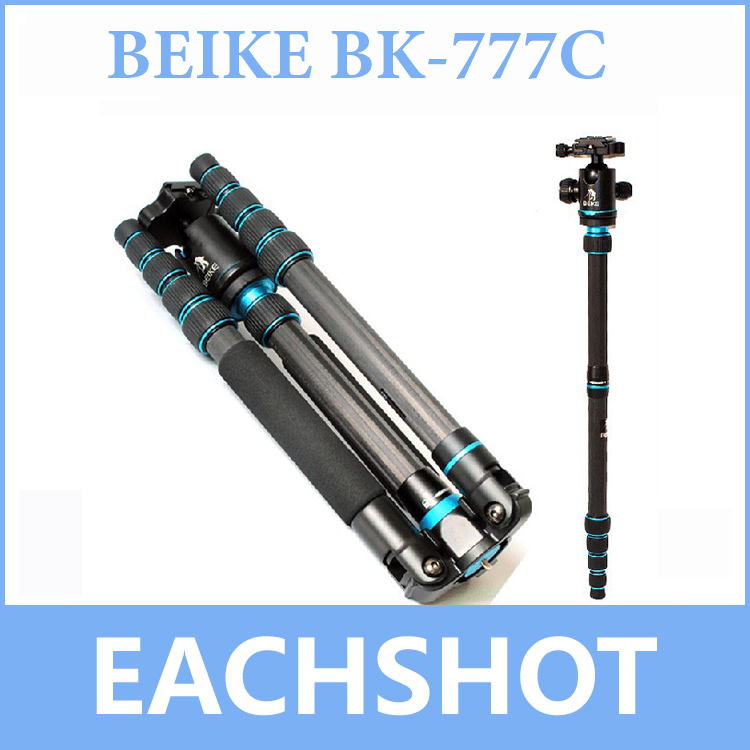 Freeshipping BEIKE BK-777C Carbon Fibre Travel Folded Tripod With Ball head Monopod For DSLR Camera Nikon Canon Sony Olympus