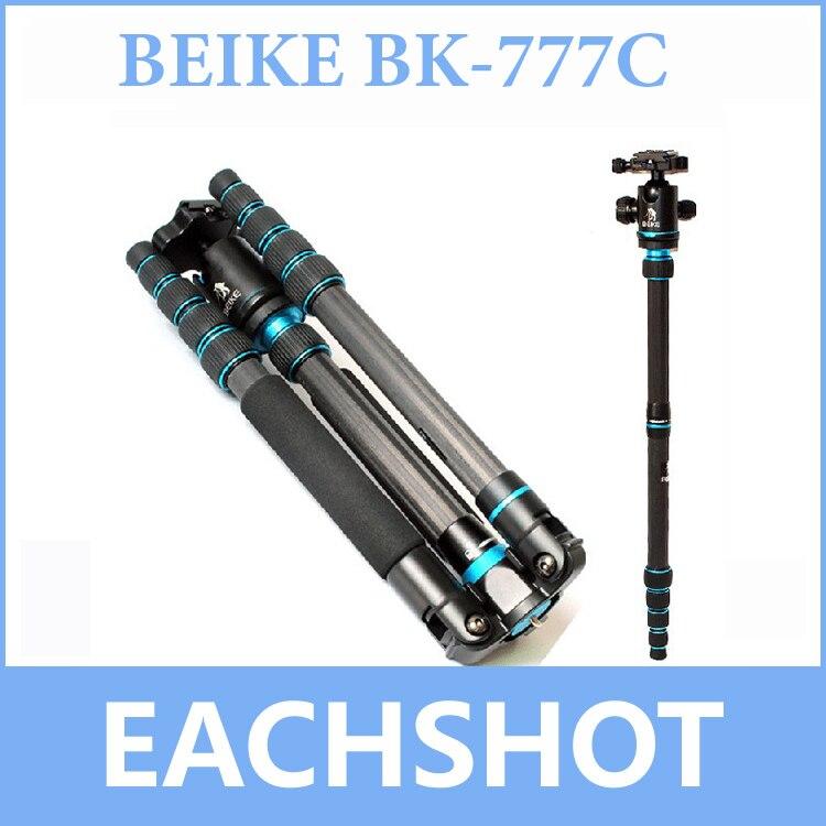 Livraison gratuite BEIKE BK-777C Fibre de carbone voyage trépied plié avec tête sphérique monopode pour appareil photo reflex numérique Nikon Canon Sony Olympus