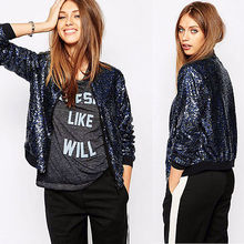 2016 Brand New Spring Autumn Style Vogue Lozenge Women Sequins Jackets Long sleeve Fashion Coats Outwears