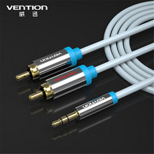 Vention 2M Audios Cables RCA  male to male Aux Video Cable one point double lotus 3.5mm Jack to 2 RCA Audio Cable for car/PC/TV