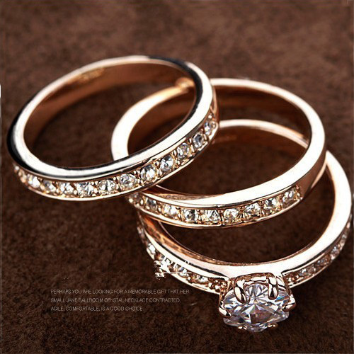 Hotsale Gift Gold Color 3 IN 1 Cubic Zirconia Wedding Ring Set Jewelry