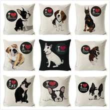 Bull Terrier Beagle Cushion Covers Boston Boxer Dog Pillow Cases Bulldog Cat Chihuahua Doberman Home Decor Pillowcase