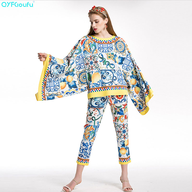 Pantalon 2018 D'été Et Blouses Pièces Bleu Piste Imprimé Floral Pulls Manches Qyfcioufu Haute souris Chauve Femmes Deux Qualité Tops Ensembles wFCX4qUx