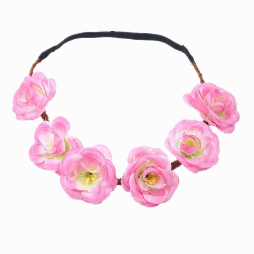 1 pieza flores rosas bohemias banda para el cabello boda novia guirnalda Floral verano flor estilo Acces corona Tiara para el cabello MY292