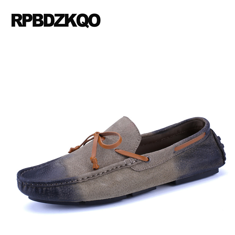 Plain Loafers Boat Shoes Men 2017 New Vintage Khaki Moccasins Flats Driving Blue Brown Khaki Casual Fashion Comfort Hot Sale khaki