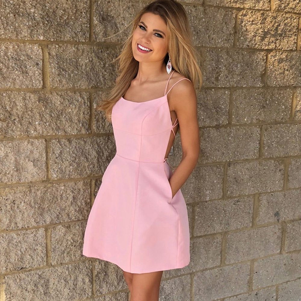 Bbonlinedress Pink Homecoming Dress 2019 Sexy Backless Spaghetti Straps Cocktail A-Line Short Prom