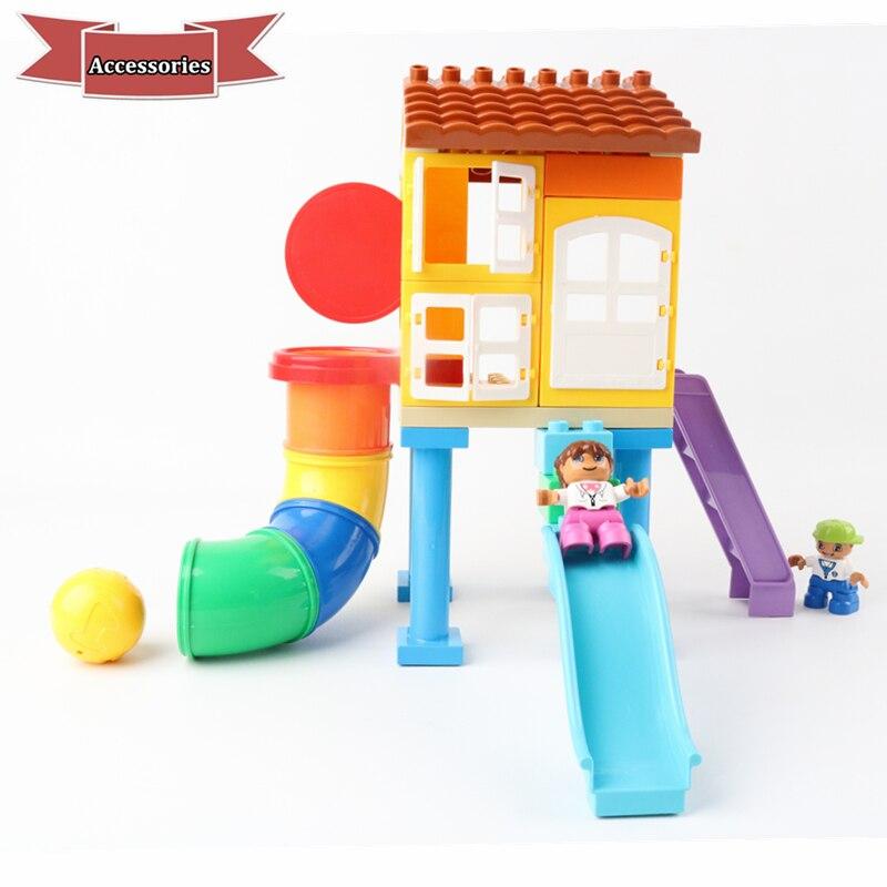 DIY Figures Paradise House Swing Pipe Ball Big Size Parts Building Blocks Bricks Duploe Toys For Children Kids Birthday Gifts