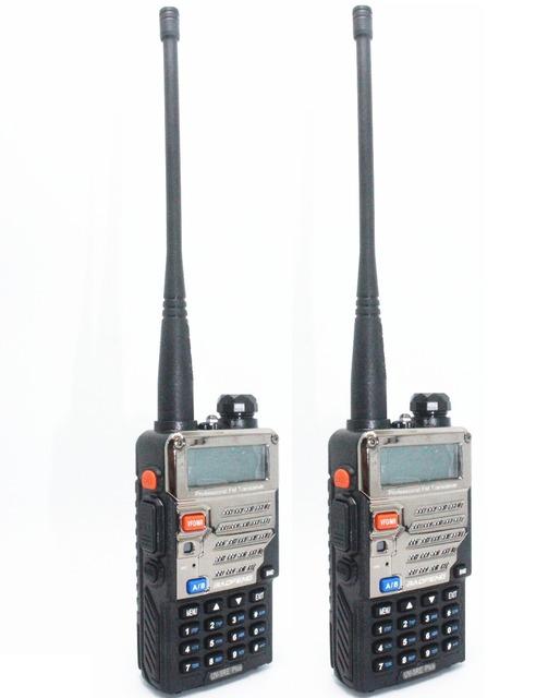 2 pcs baofeng walkie talkie ham amateur rádio em dois sentidos uv-5re + plus preto dual band 136-174 & 400-520 mhz rádios baratos