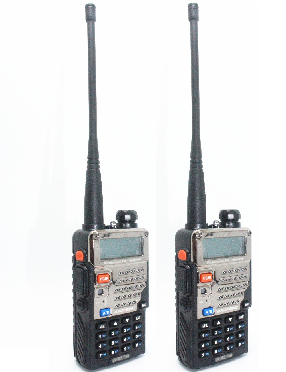 2pcs BaoFeng Walkie Talkie UV 5RE Plus Black Ham Amateur Two Way Radio Dual Band 136