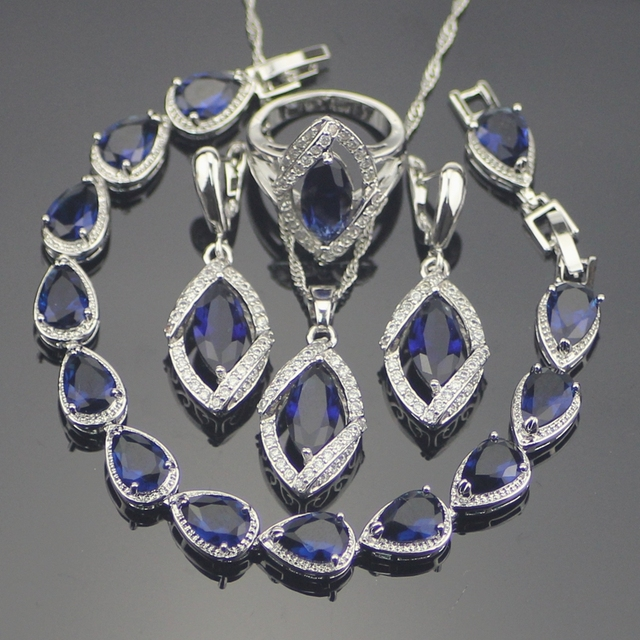Blue Created Sapphire White Topaz 925 Sterling Silver Jewelry Sets Earrings/Pendant/Necklace/Rings/Bracelets For Women Free Box
