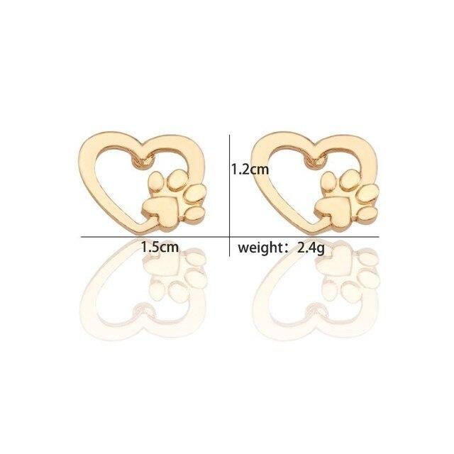 Dog Heart Paw Earrings  6