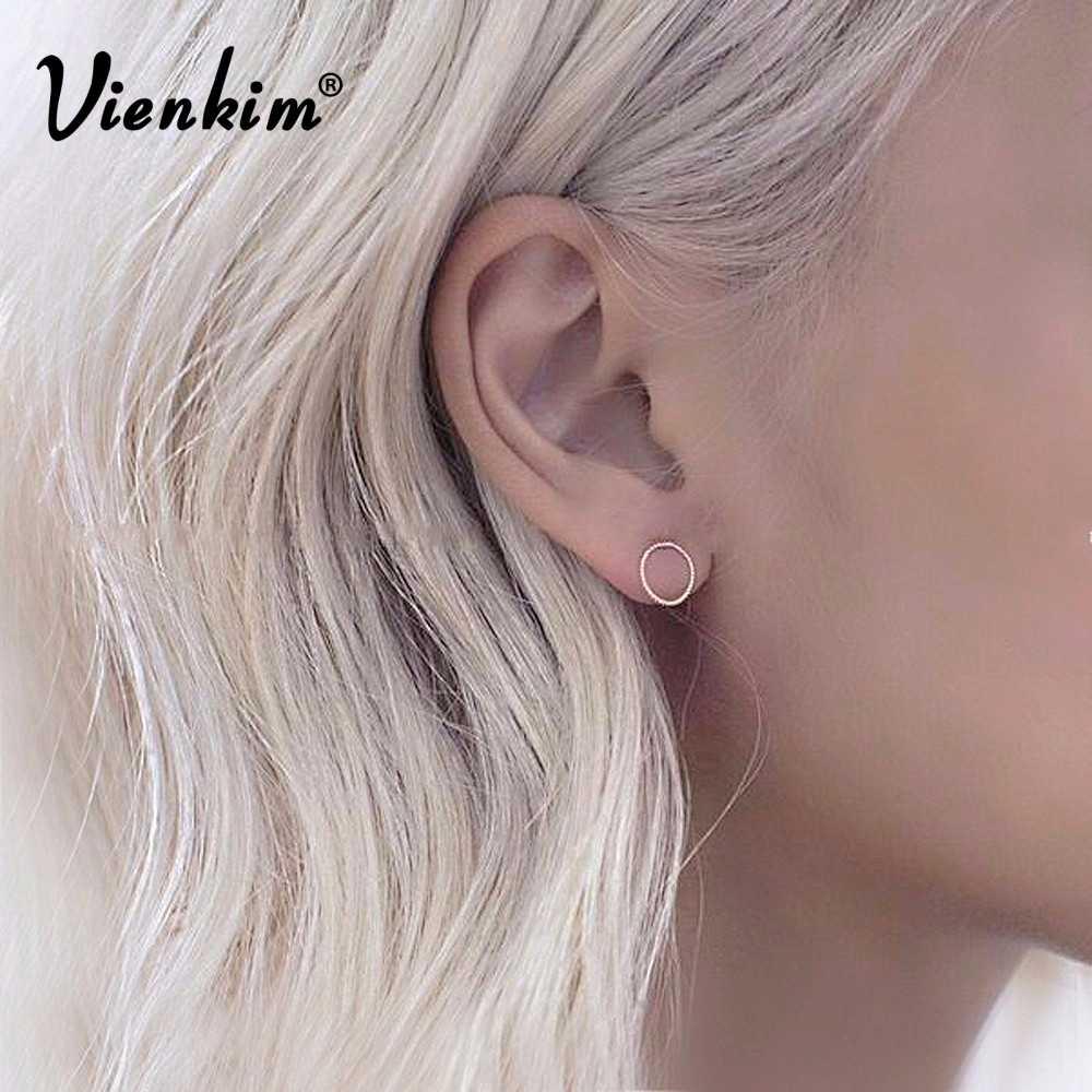 cb2f2e0c6 Vienkim 2018 New Best selling NEW Women Fashion Simple Gold Silver Black Stud  Earring Punk Rock
