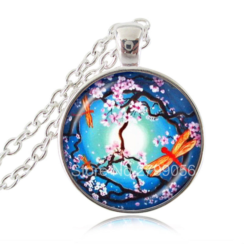 Peace Tree with Orange Dragonflies Necklace Flower Jewelry Handmade Glass Cabochon Moon Pendant Silver Bronze Chain Accessories