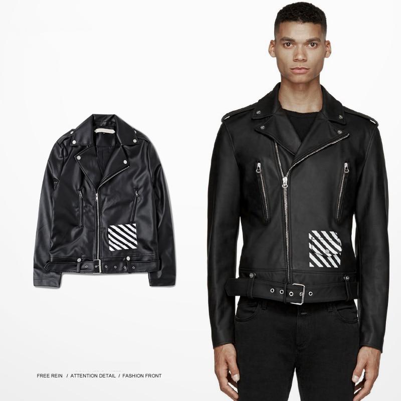 be642eb99b5 Brand Clothing Men Women Lovers Hip Hop PU Leather Jacket Zipper Cardigan  Design Printing Element Coat Trend