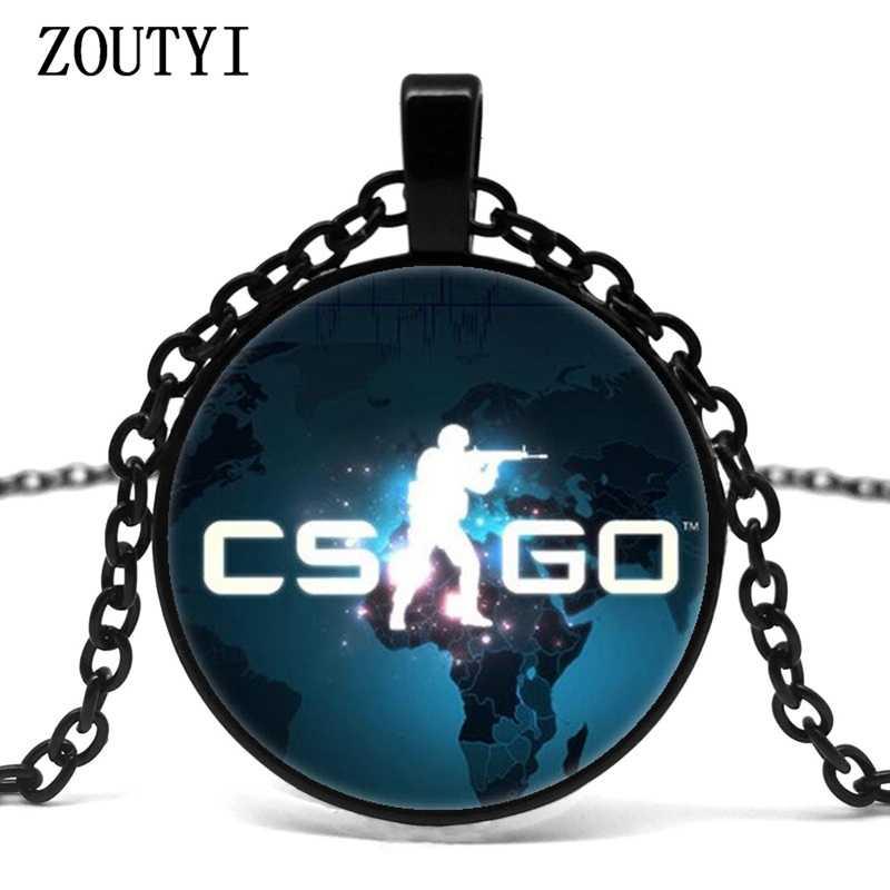 2018/gioco CS ANDARE di vetro della collana della catena uomini CSGO anime no collare maschio Collier Homme dichiarazione dei monili del pendente migliore regalo