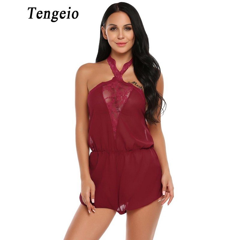 5829a99866a Tengeio Women Halter Sexy Bodysuit Sheer Lace Chiffon Romper Sleeveless  Backless Transparent Overalls Nightwear Body Femme S2-in Rompers from  Women s ...